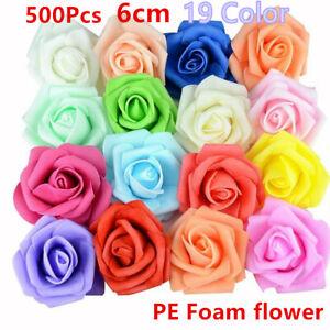 100/500pcs 6cm PE Foam Roses Artificial Flower DIY Wedding Bride Bouquet Party