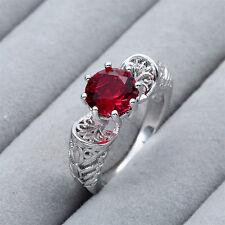 Fashion Jewelry 925 Silver Ruby Topaz Gemstone Women Wedding Ring Size 8