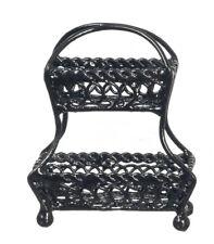 Dollhouse Miniature Black Wire Two Tiered Kitchen Basket