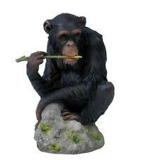 """7"""" Chimpanzee Chewing Branch Nature Wildlife Animal Statue Wild Sculpture"""