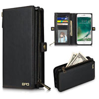 Leather Phone Case For iPhone X  Man Wallet Money Zip Bag Flip Cover