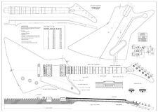 Gibson Explorer electric GUITAR PLANS  make guitar - actual size