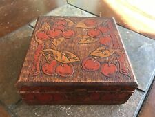 Antique HAND CARVED Wood Box CHERRY Pattern fabric lined Flemish Art