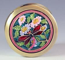 NEW DRAGONFLY FLORAL HANDPAINTED MULTICOLOR CRYSTALS ROUND BRASS COMPACT MIRROR