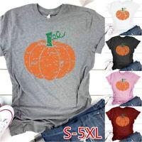 Women Casual Cute Short Sleeve Pumpkin T-shirt Tee Tops Hello Fall Halloween
