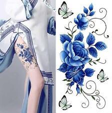 Removable Stickers Women Body Art Tattoo Waterproof Temp Tattoo--Blue Rose BTF