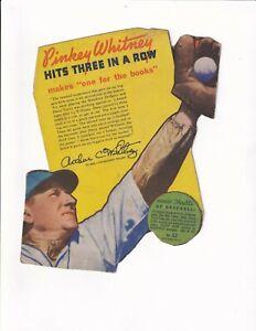 PINKEY WHITNEY/phil. PHILLIES - 1938  WHEATIES cereal box HAND-CUT baseball card