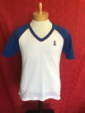 PERFECT 1970s Leach Racquetball Apparel white & blue waffle shirt large Jersey