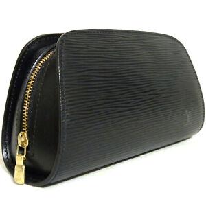 For Repair Auth Louis Vuitton Black Epi Dauphine PM M48442 Cosmetic bag Pouch SP