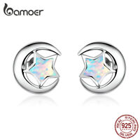 BAMOER authentic S925 Sterling silver Opal Stud Earrings For Women Jewelry
