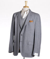 NWT $1595 CARUSO Gray-Blue Check Wool-Cashmere Sport Coat Slim 48 R (Eu 58)