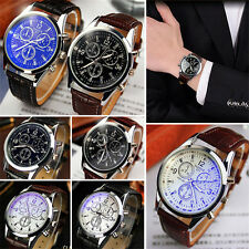 Men's Luxury Fashion Watches Leather Stainless Steel Analog Quartz Wrist Watch