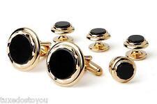 NEW Men's Black Onyx Diamond Cut Gold Plated Trim Cuff Links Studs Gift Box