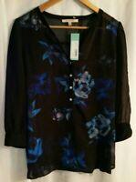 41 Hawthorn Stitch Fix Black Floral Blouse Shirt V-Neck Long Sleeve Medium New