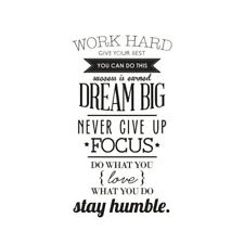 WORK HARD DREAM BIG Quote Wall Sticker Office Inspirational Decal Removable N4E9