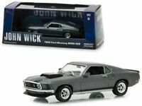 "GREENLIGHT 1:43 1969 GRAY FORD MUSTANG BOSS 429  ""JOHN WICK"" W/CASE MODEL 86540"
