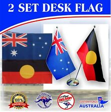 Aboriginal Flag & Australia Flag 2 set Desk Flags Table Flags