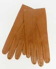 IMPERIAL Goatskin Dress Gloves Hand Made Driving Brown Mens 8.5 Vintage RARE