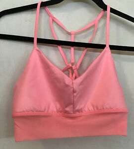 Alo Sports Lavish Bra Bright pink Mesh Nylon Trim Cross Back Straps Size S