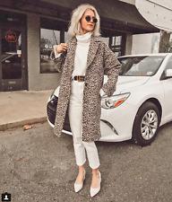 Zara Marron/Beige Imprimé Animal Jacquard coton manteau taille S