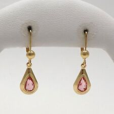 New 18K Gold 750 Italy October Birthstone Teardrop Dangle Earrings