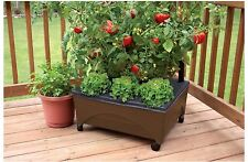 EMSCO GROUP Brown Resin Self Watering Raised Garden Bed Planter Plant Deck Patio