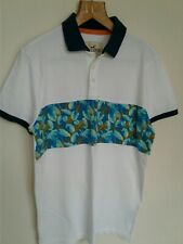 Mens Hollister Polo Shirt White With Leaf Pattern Medium