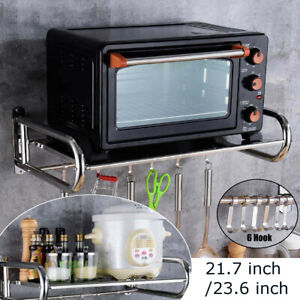 Stainless Steel Microwave Oven Rack Wall Mounted Kitchen Shelf Bracket Stand UK