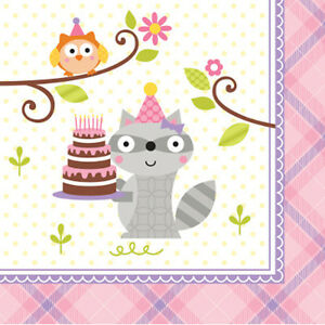 Happi Woodland Girl Forest Animals Birthday Party Supplies Small Napkins