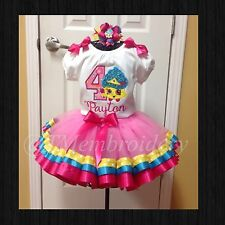 Shopkins birthday appliqué With Number & Name & Ribbon Trimmed Tutu