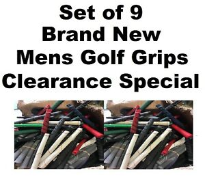 Set of 9 new MENS standard Golf Grips REGRIPPING BARGAIN!!! Clearance Special.