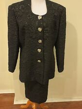 Chancelle 2 piece Skirt Suit with rhinestone buttons black vintage Sz 18 Formal