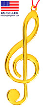 Christmas Ornament,  Music Note Treble, Solid Metal Gold