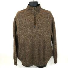 Pendleton Mens XL 100% Shetland Wool Brown Vintage Half Zip 2 Pocket Sweater