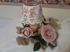 Vintage Home Interior & Gifts Large Candle Stick Holder Spring Floral and Lace