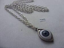 De la suerte Evil Eye Amuleto Plata Tibetano Colgante,Largo 76.2cm Collar Cadena