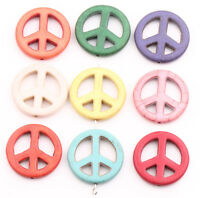 5X Mixed Colors Howlite Turquoise Beads Loose Peace Sign Charms Beads 25x14mm