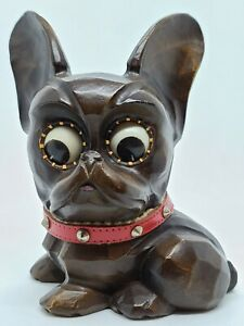 Antique Working OSWALD Germany Rolling Eyes Scottie Terrier Figural Mantel Clock