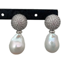 Cultured Freshwater White Baroque Keshi Pearl Dangle Stud Earrings