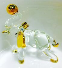 Elephant Glass Figurines Crystal Thailand Craft Gold Painting Collectibles Gifts