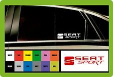 SEAT SPORT - 2 x CAR DECAL STICKERS  - Fits any SEAT-145mm long - Colour Choice!