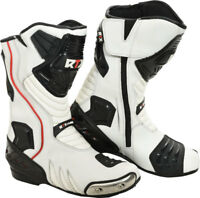 RTX Daytona Sports White Protective CE Leather Motorcycle Motorbike Biker Boots