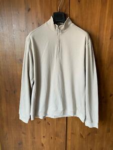 M&S BLUE HARBOUR Beige Stone Half Zip Sweatshirt Jumper 100% Cotton XL - BNWOT