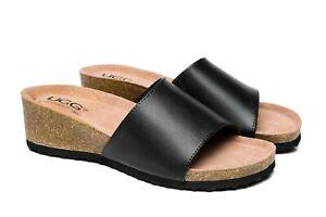 UGG Women Sandals Megan Leather Wedge Slides Hi Lift Platform Slip-On Sandals