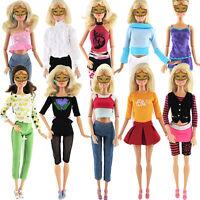 5pcs/Set Rock Hose Tops Hemd Kleider Kleid Kleidung für Barbie Puppe 30cm ~
