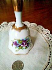 "Hand Crafted Porcelain Bell ""Norcrest"" Violets Design Gold Accents Lovely!"