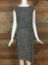 Ann Taylor Ruched Sheath Dress Size M Black White Dots Stretch Career Work