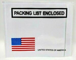 "4.5"" x 5.5"" ""Packing List Enclosed"" Panel Face Envelopes USA Flag (100 pk)"
