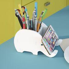 Wood Carving Elephant Pen Phone Holder Holders Desk Stationery Organizer Box