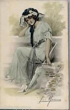 SAN MARCO Glamour Girl PC Circa 1917 Donnina Cappello Ombrellino